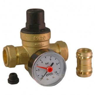 Eres - 15mm/22mm Adjustable 1-6 Bar Pressure Reducing Valve With Gauge Port ER-PRV1522