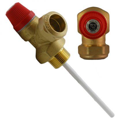 """Altecnic - 7 Bar 3/4"""" 90°C Pressure and Temperature Relief Valve"""