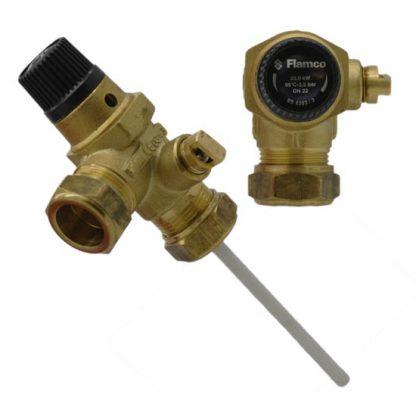 Flamco - 3.5 Bar 22mm Pressure & Temperature Relief Valve 97783224