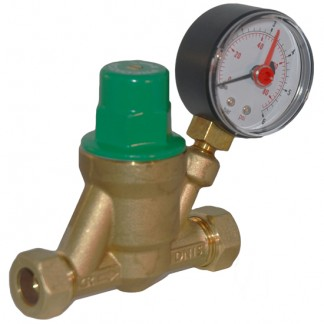 Reliance - Adjustable Pressure Reducing Valve 22mm With Gauge PRED800020