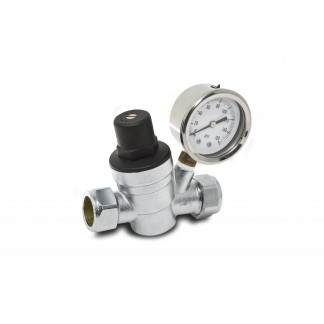 Essentials 15mm Adjustable Pressure Reducing Valve with Gauge