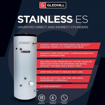 ESINPIN300 - Gledhill ES 300 Litre Indirect Unvented Cylinder
